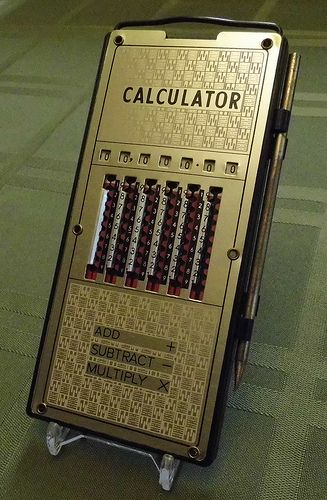 Vintage Magic Brain Mechanical Pocket Calculator, Made in Japan.