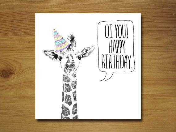 Giraffe Birthday Card By Wywhcards On Etsy 225 Gifts