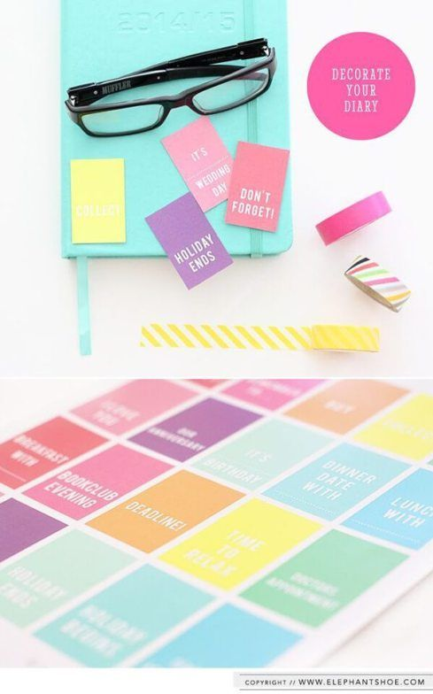 Colourful planner tags - Click through to see 13 Fabulous and Totally Free Planner Printables