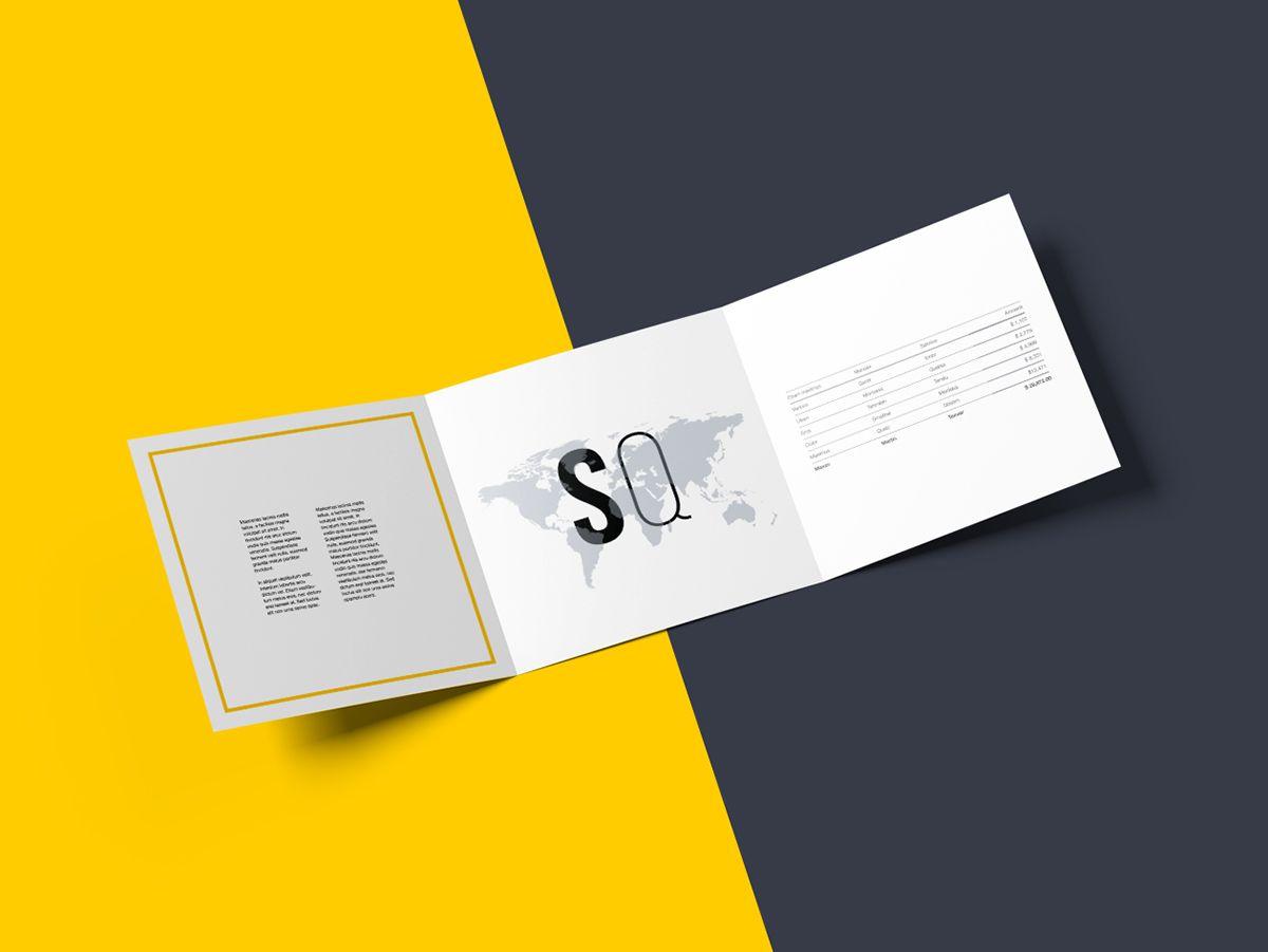 Free Square Trifold Brochure PSD Mockup #gatefold