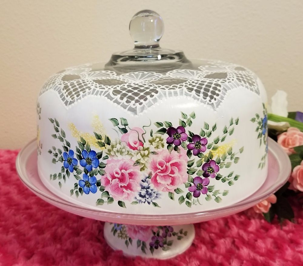 Glass cake stand dome pedestal plate multicolored flowers