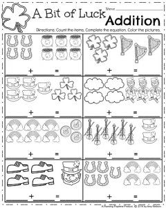 Kindergarten Math Worksheets for March - A bit of Luck Addition ...
