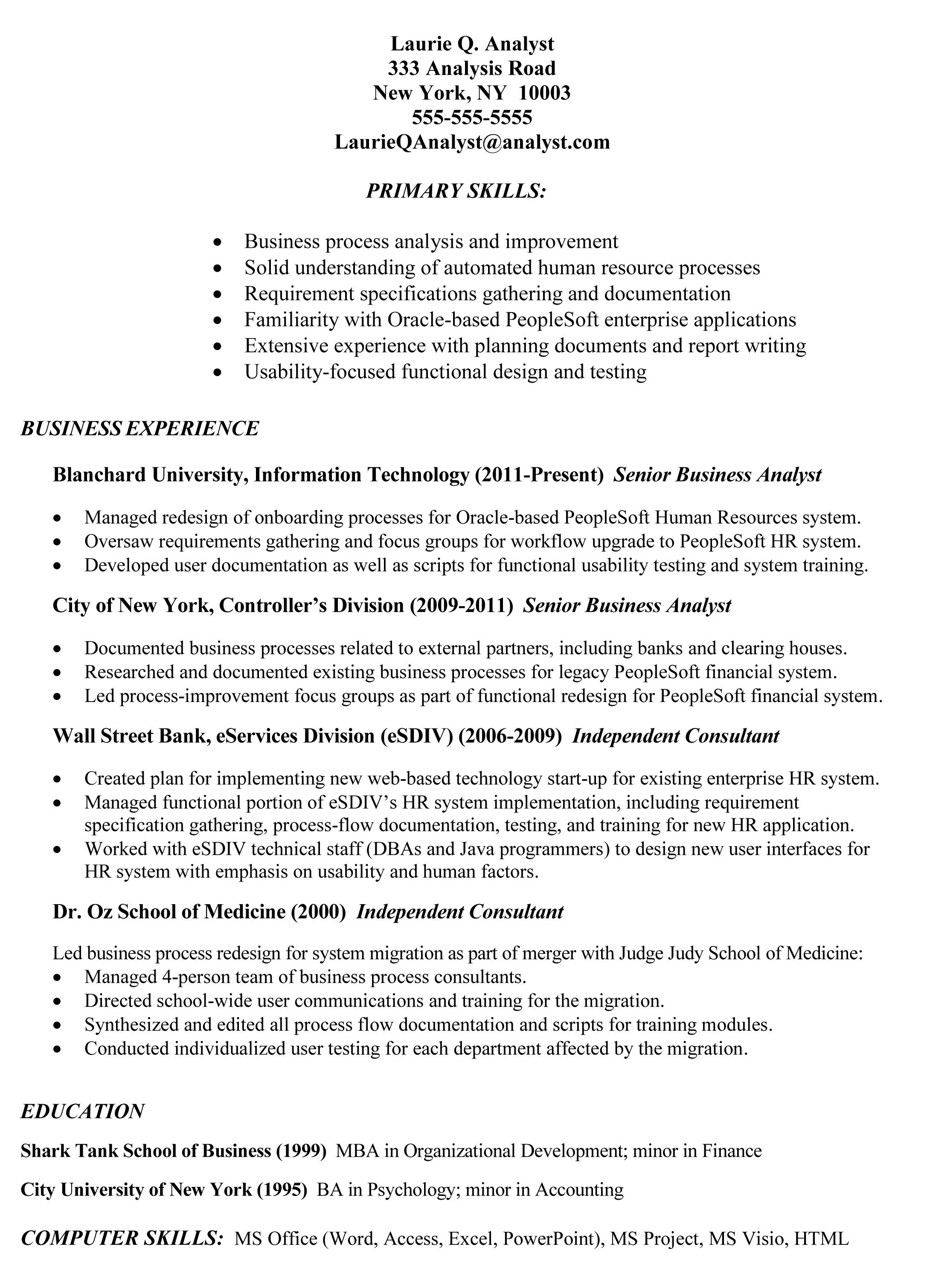 Senior Business Analyst Resume Example Of Business Analyst Resumes  Httptopresume2014