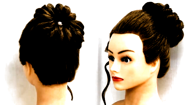 Easy Bun Hairstyles with Trick | Beautiful Hairstyle for wedding party. how to make a … in 2020 ...