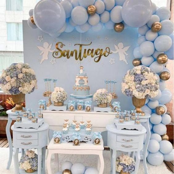 Decoracion En Tonos Azules Bautizo Baby Shower Cumpleanos Baby Shower Balloons Baby Bear Baby Shower Baby Shower Decorations