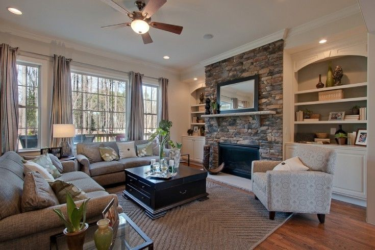 Attractive Bookshelves Next To Fireplace Decor Ideas In Living Room Traditional Design Ideas