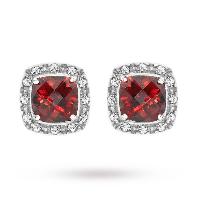 9ct White Gold Diamond and Garnet Stud Earrings | Earrings | Jewellery |  Goldsmiths