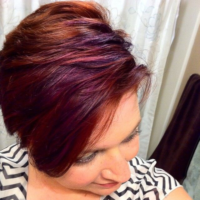 Subtle Purple Highlights Short Hair Pixie Cut Purple Hair