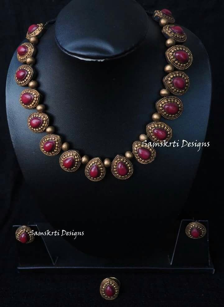 Pin By Sindhu Suresh Babu On Terracotta Terracota Jewellery Handmade Fashion Jewelry Terracotta Jewellery Designs