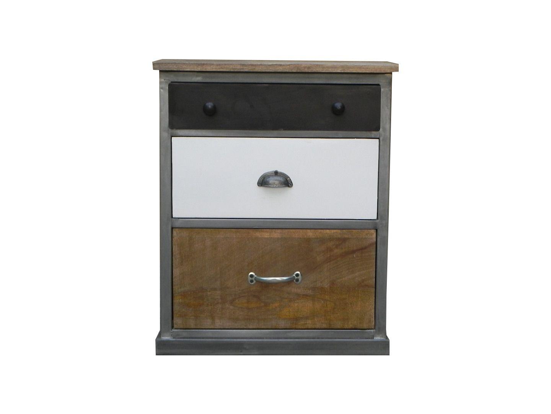 Cabinet industriel chic bois metal 3 tiroirs meubles et for Meuble metal tiroir