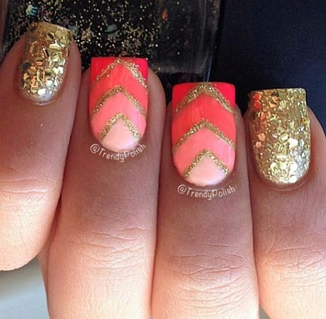 Gold and Coral Nails - Gold And Coral Nails Nail Art Pinterest Coral Nails, Nail