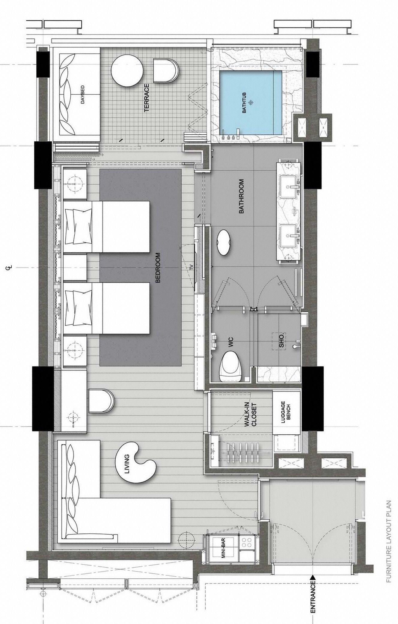 Hotel Room Blueprint: Hotel Floor Plan, Hotel Room Plan, Hotel Room