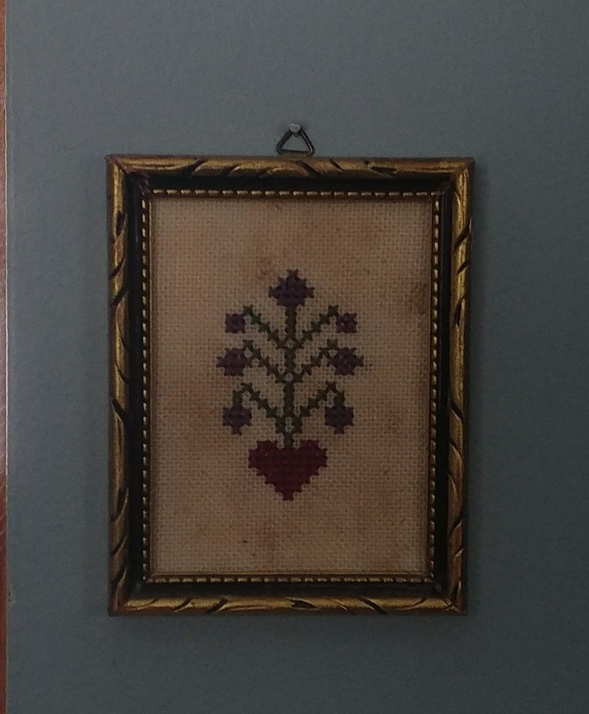 Tiny cross stitch sampler with heart & flowers. Framed in vintage ...