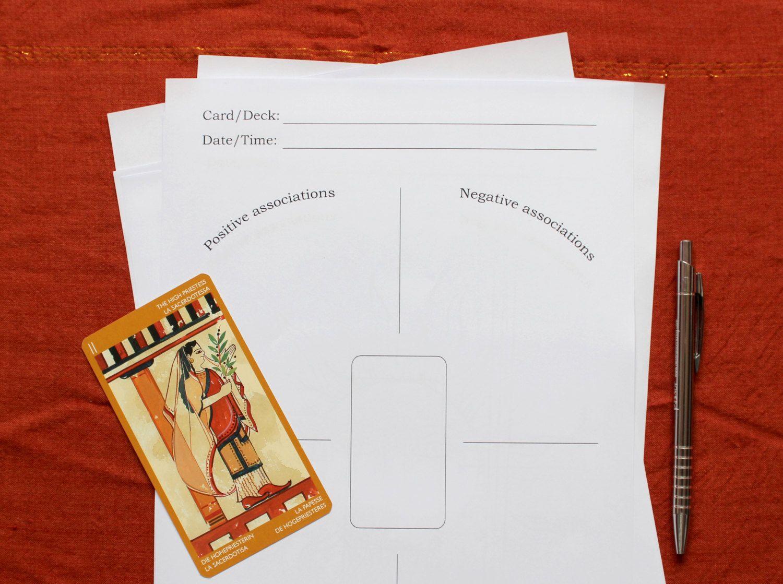 Tarot Card Cross Study Worksheet Digital Printable