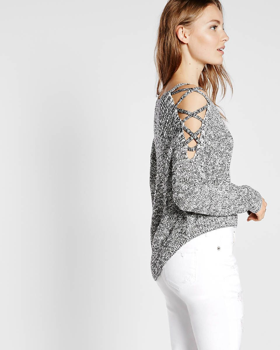 marled lace up cold shoulder pullover sweater