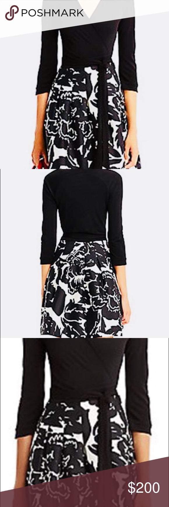 Dvf long sleeve black floral print wrap dress nwt my posh closet