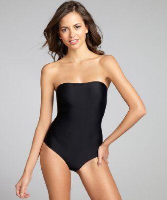 2afebd494a5a6 Mileti black strappy open back strapless one-piece swimsuit