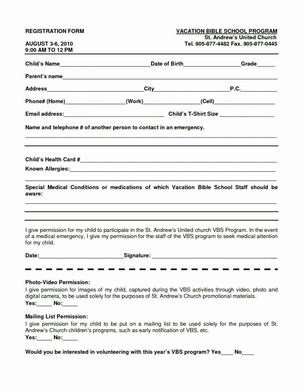 School Registration Forms Template Unique Bible School Registration Form Template Template Registration Form Word Free Word Template