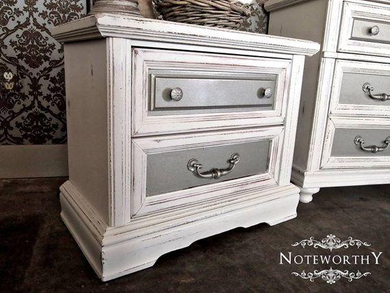Wonderful Glam Silver/Distressed White Dresser U0026 Night By Noteworthyhome
