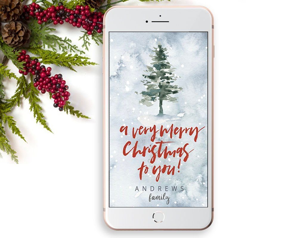 Christmas Greeting Card Template With Christmas Tree And Snowy