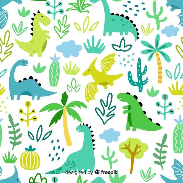 Hand drawn dinosaur pattern Free Vector | Free Vector #Freepik #vector #freepattern #freetree #freehand #freetemplate #dinosaurillustration