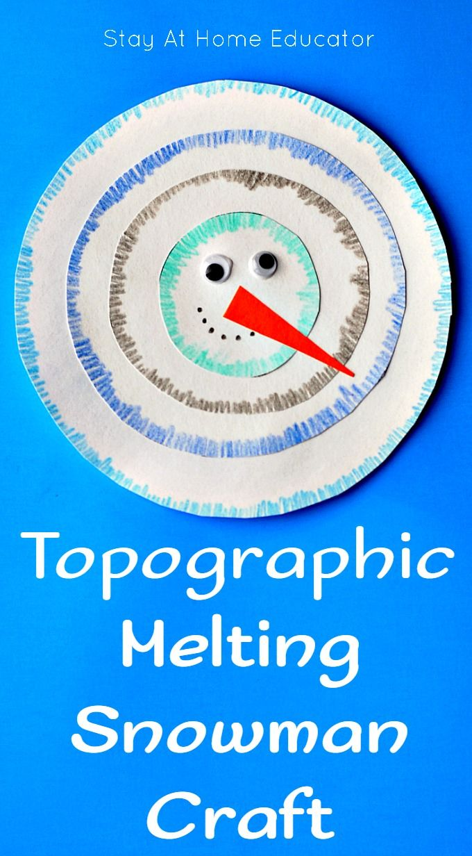 Topographic Melting Snowman Craft Winter Activities For Kids