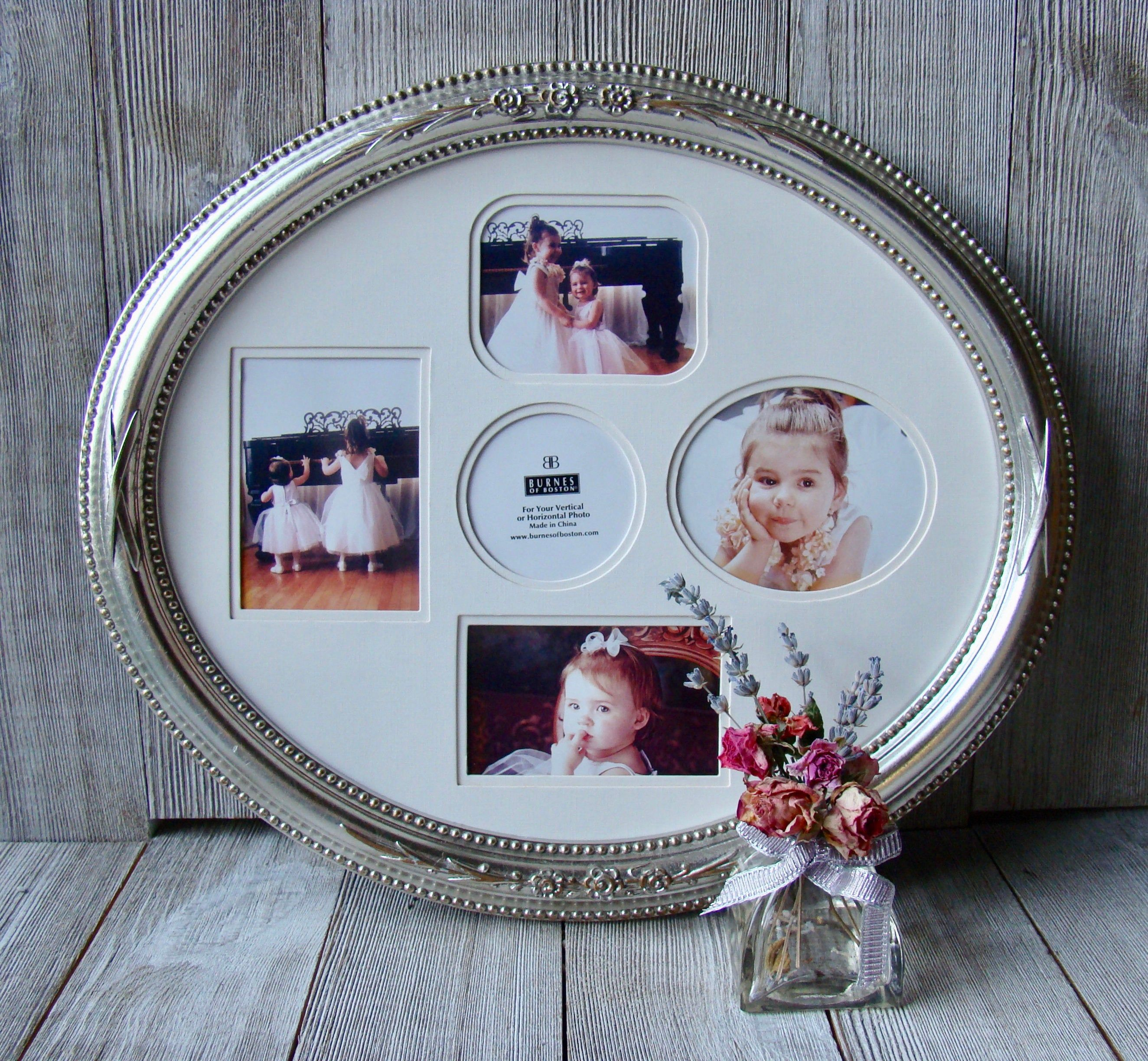 10 X 12 Silver And Gold Toned Ornate Oval Frame With Multiple Opening Mat Oval Picture Frames White Picture Frames Oval Frame
