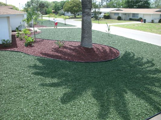 Turf Green Rubber Mulch Used To Replace Turf At Home In Florida