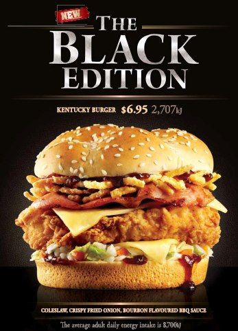 Kfc Australia Offers The Black Edition Kentucky Burger Sandwich Also Features A Bourbon Flavored