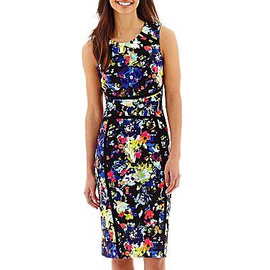 jcp | nicole by Nicole Miller® Sleeveless Floral Print Sheath Dress