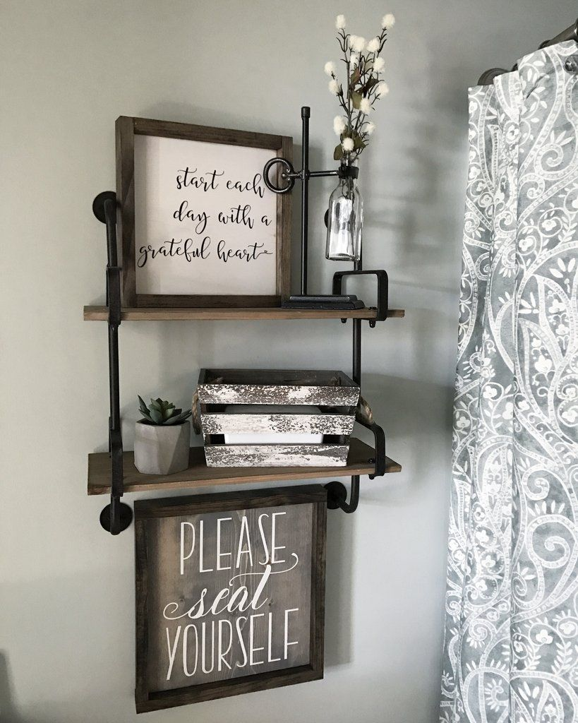 . Please Seat Yourself Framed Wood Sign  13x13  in 2019   Bathroom