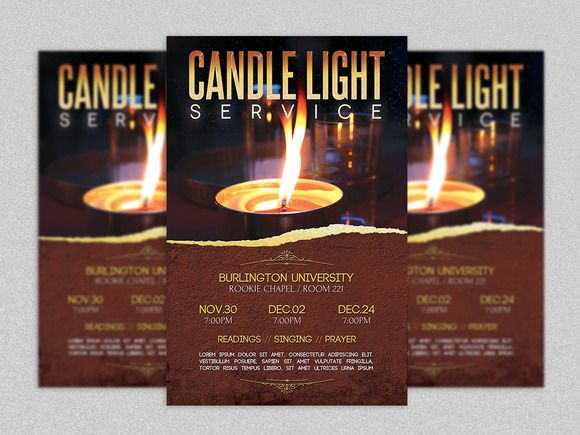Candle Light Service Flyer Template by Godserv Marketplace on - christian flyer templates