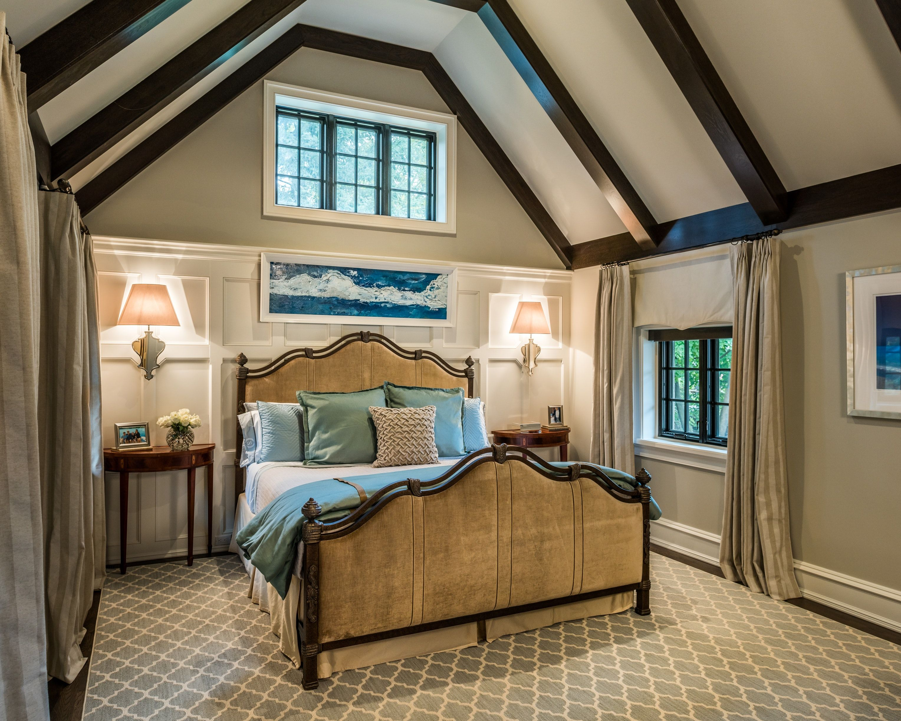 Sconces Used At Bedside In A Tudor Style Master Bedroom With Bed Wall Paneling Master Bedroom Interior Tudor Style Master Bedroom