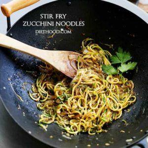 Stir Fry Zucchini Noodles Recipe | Diethood #healthystirfry