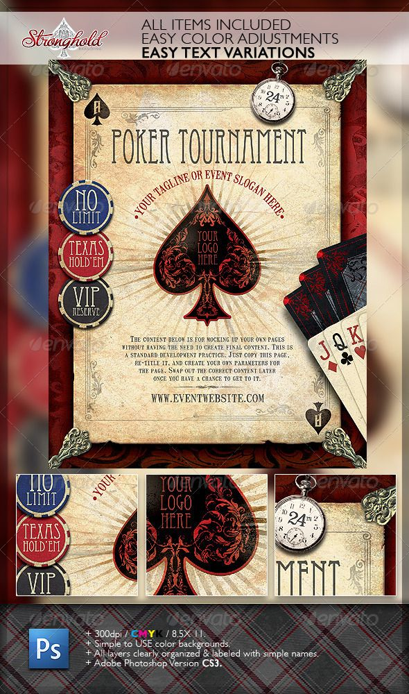 Vintage Poker Flyer Template Flyer Template Template And Design - Poker tournament flyer template word