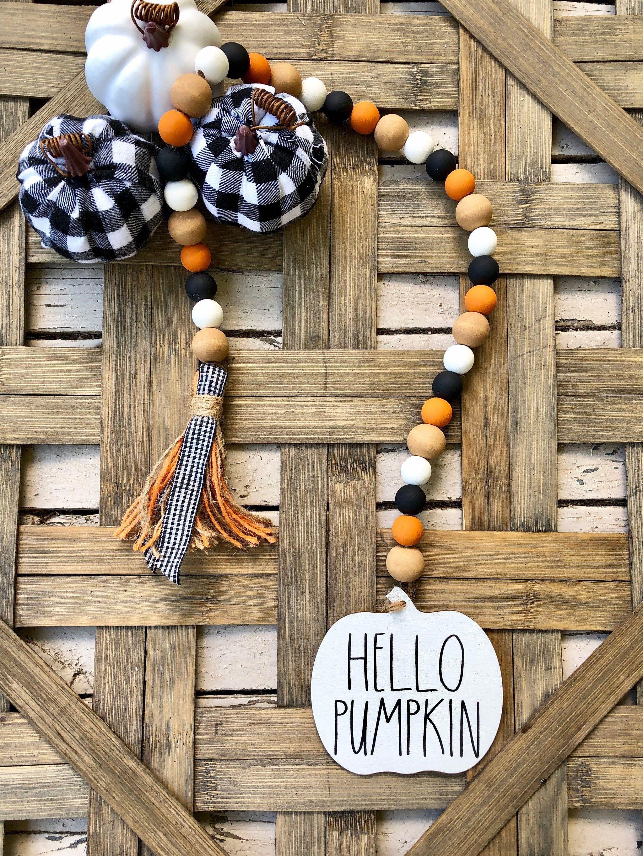 Fall Orange Black White Pumpkin Wood Bead Garland