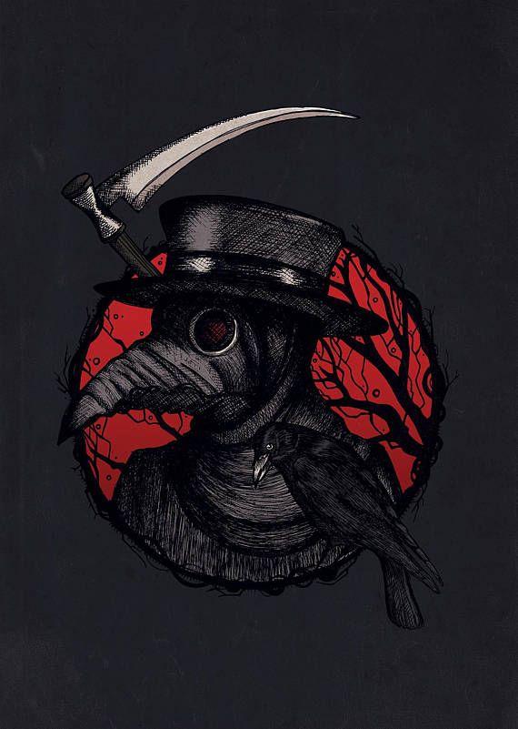Plague Doctor Art Print  Horror Art  Steampunk Print  | Etsy