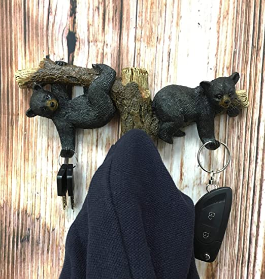 Ebros Whimsical Forest Rustic 2 Playful Black Bears Dangling On Tree Branches 3 Pegs Wall Hooks 9 25 Wide Ha Peg Wall Bear Decor Bear Decor Rustic