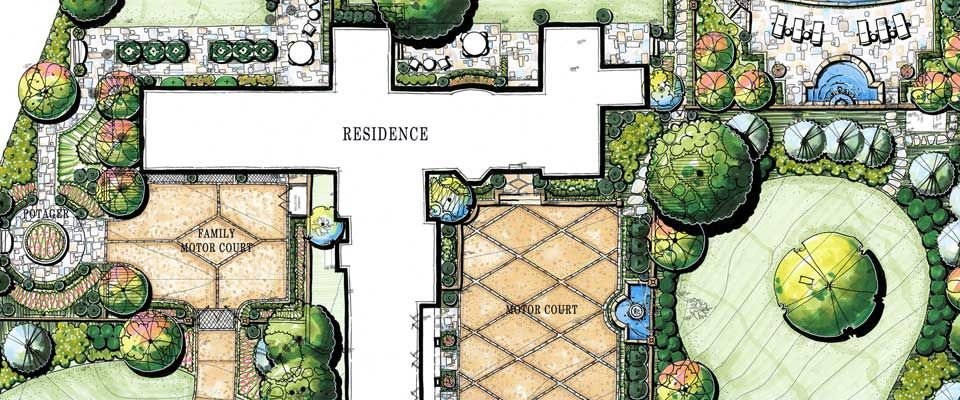 Rich and detailed landscape and site plan by Stephen Hackney Landscape Architecture