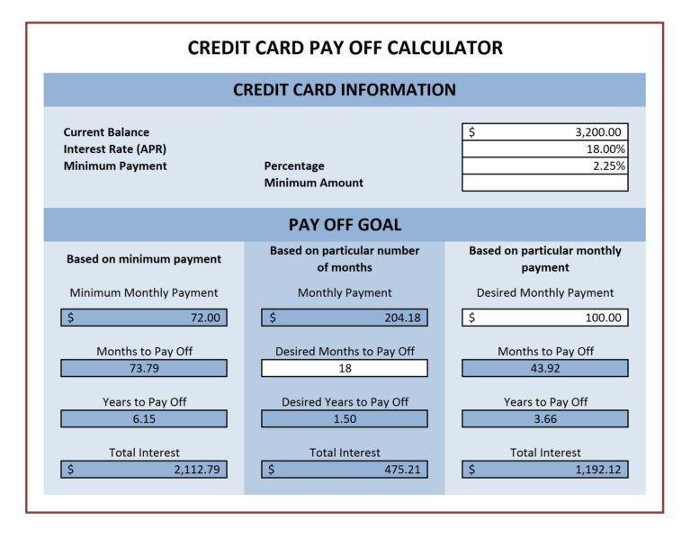 Payoff calculator credit card zohrehorizonconsultingco