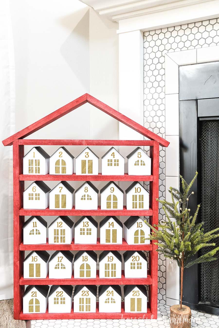 Diy Wooden Advent Calendar With Paper Houses In 2020 Wooden Advent Calendar Diy Advent Calendar Advent Calendar House
