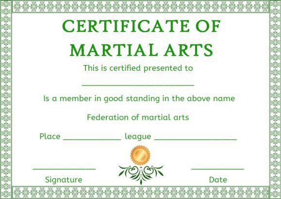 Free Membership Certificate Martial Arts Template  Free