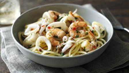 Prawn calamari pasta recipe