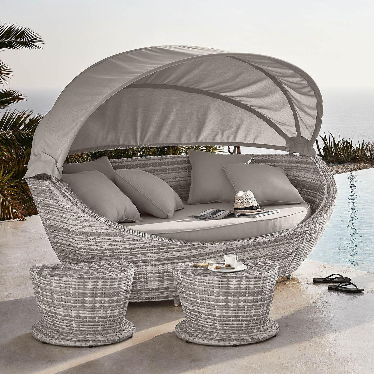 Sonneninsel Mit 2 Hockern Hellgrau Hellgrau Gartenmobel Design Aussenmobel Outdoor Sofa