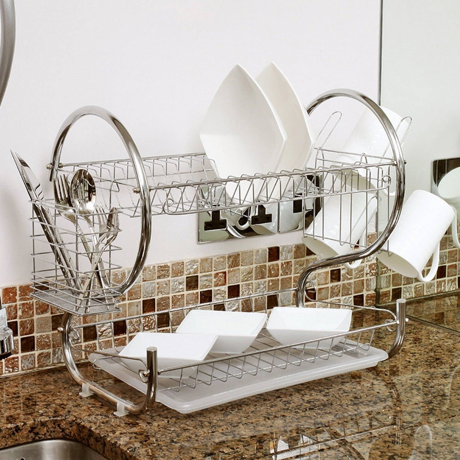 Sweet Home Collection Two Tier Chrome Dish Drainer 20 Quot X13