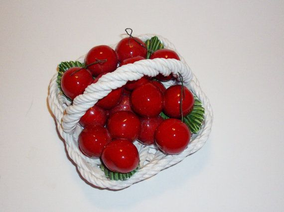 Vintage Capodimonte Basket of Cherries