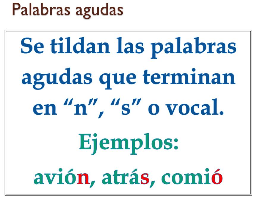 Regla Para El Uso De La Tilde Acento Ortográfico En Las Palabras Agudas Las Palabras Agudas Son Aq Spanish Anchor Charts Anchor Charts Third Grade Classroom
