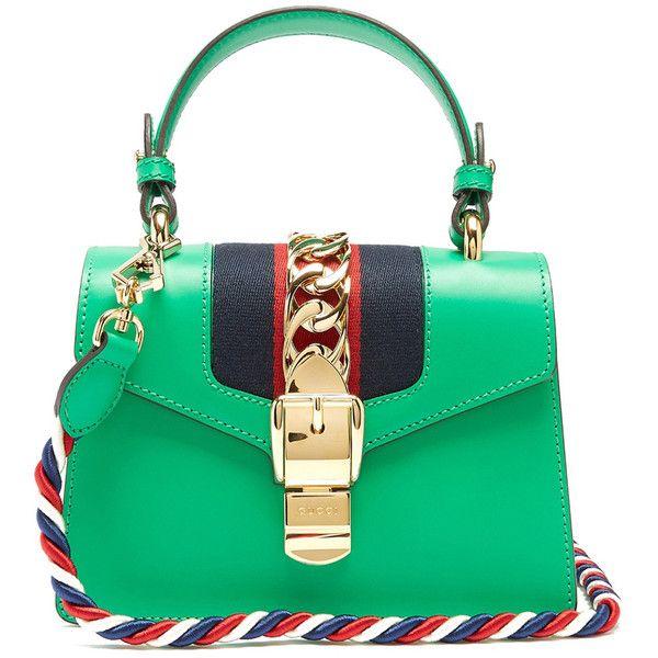 db6baef80 Gucci Green 'Sylvie' Mini Crossbody Bag ($2,250) ❤ liked on Polyvore  featuring bags, handbags, shoulder bags, green, green handbags, green  crossbody, green ...