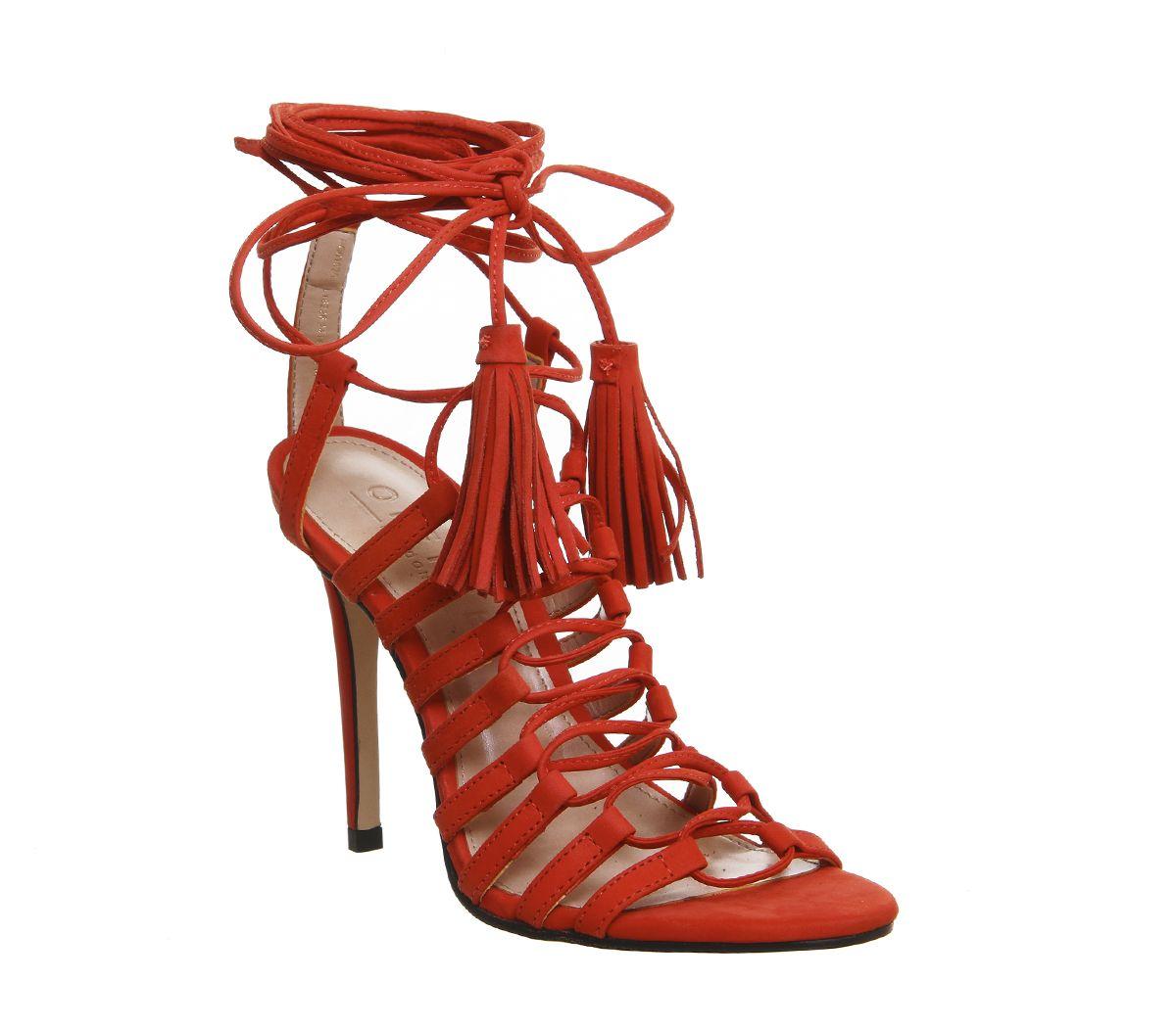 Office Adorned Multi Strap Tassel Heels Red Nubuck - High Heels