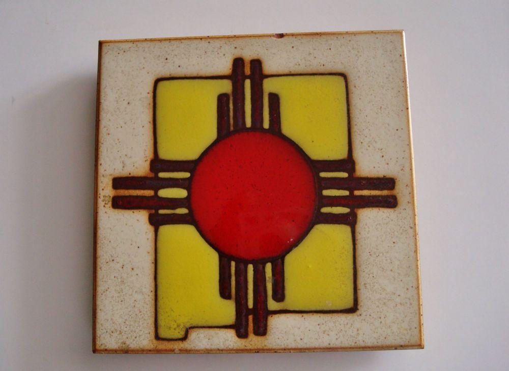New Mexico Zia Sun Symbol Southwestern Art Decorative Ceramic